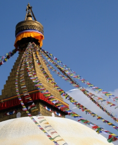 Stupa with flags by Christiane Michels
