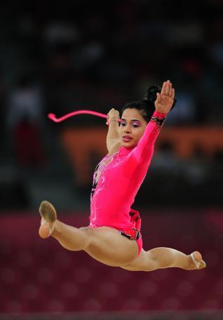 India's Akshata Sanjay Shete, in action at the Commonwealth Games rhythmic gymnastics team competition. Photo: K. Murali Kumar