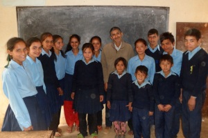 The SEA kids in Shree Liti School, with the principal