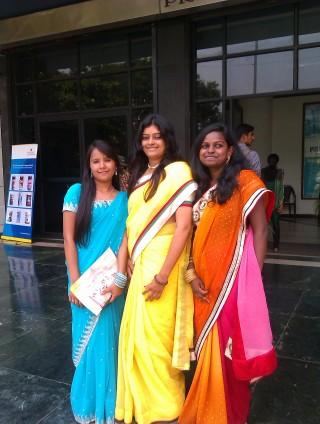 Samjhana with two friends