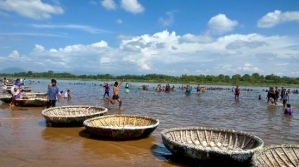 Coracles: light round boats, in bamboo, to ride on the river.